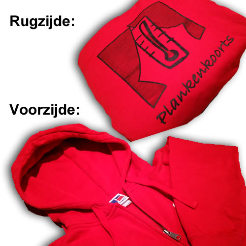 Rode hoodie met logo (zonder rits)